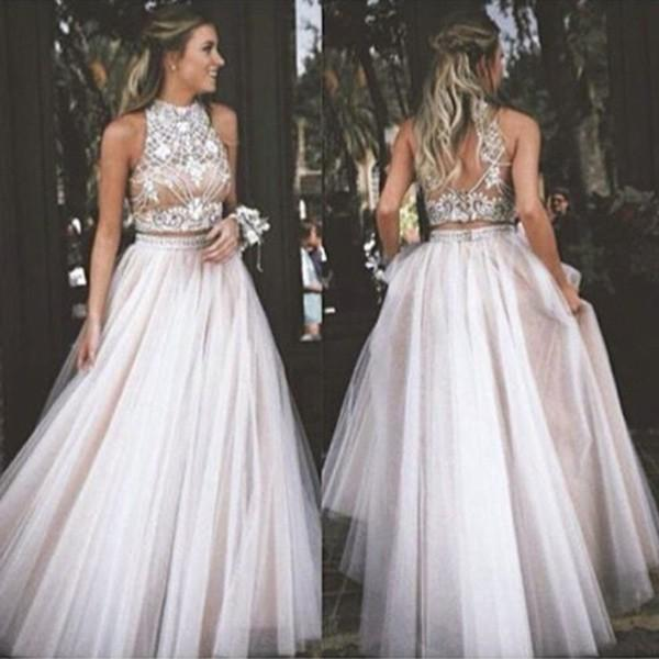 Wedding - Sexy Two Piece Prom/Homecoming Dress - High Neck Tulle with Rhinestone