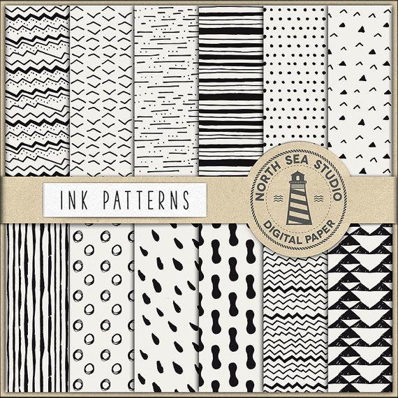 Mariage - Ink Digital Paper, Black Ink Papers, Hand Painted Patterns, Brush Marks Digital Backgrounds, Digital Download, Don't Forget Use Coupon Code!