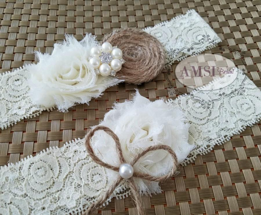 Mariage - Rustic Wedding Garter Set, Ivory garter,Bridal Belt,Ivory wedding garter,Country Wedding Garter,Bridal accessories,Shabby Chic Garter,Brides