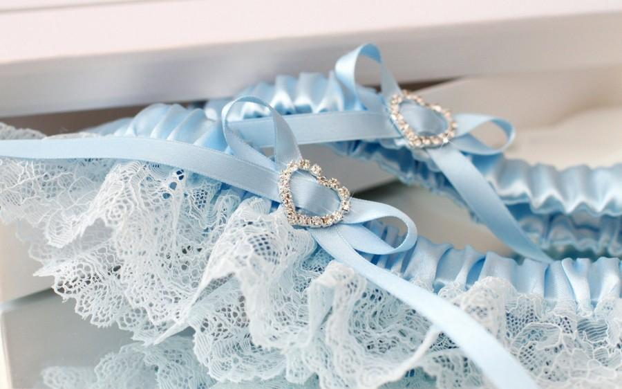 Wedding - blue wedding garter set, blue lace garter set, something blue garter set, something blue for bride, bridal garter set, plus size garter set
