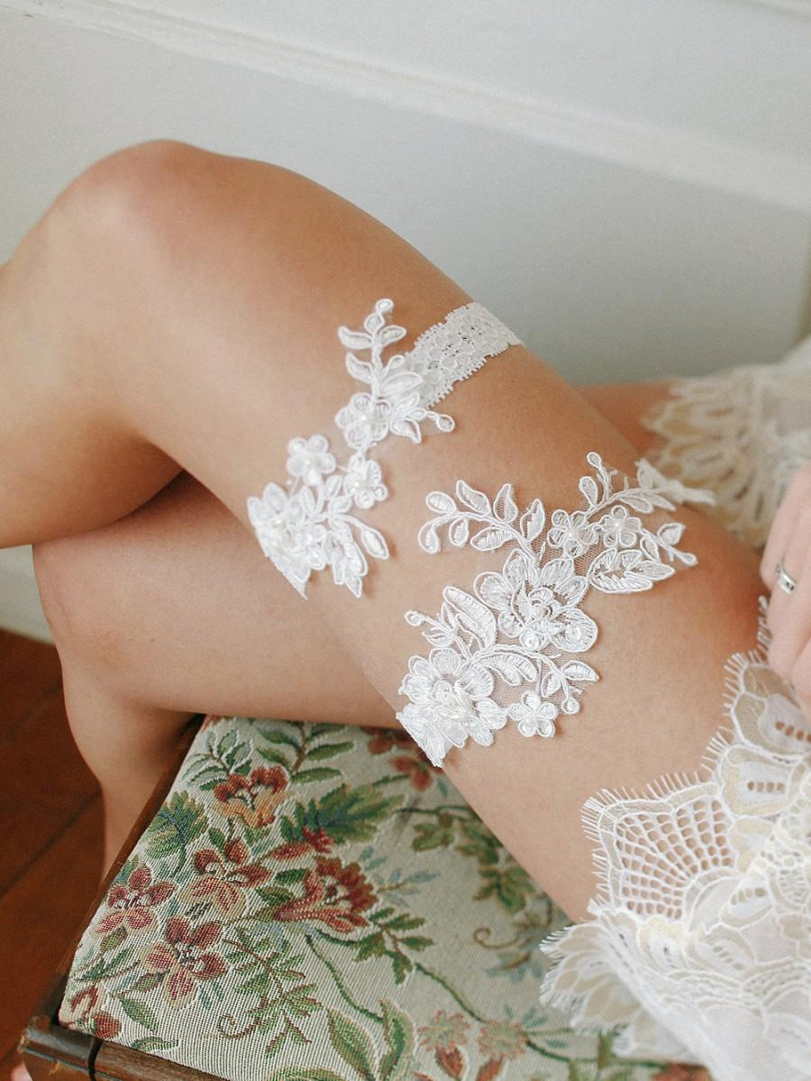 Wedding - bridal lace garter set, ivory lace garter belt, wedding gift - style #536