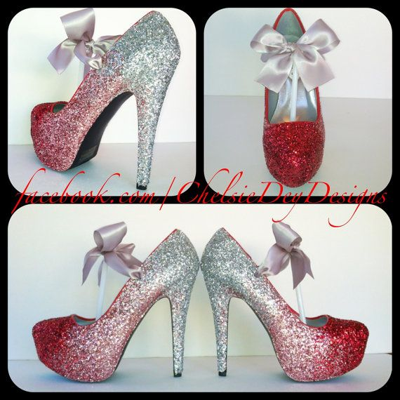Hochzeit - Glitter High Heels - Red Pink Silver Pumps - Cherry Ombre Platform Shoes - Silver Satin Bows