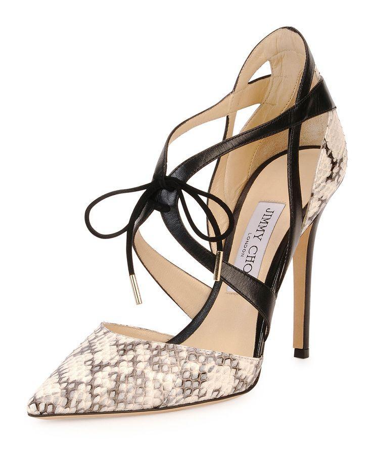 Hochzeit - Jimmy Choo Lapris Snakeskin Ankle-Wrap Pump, Natural/Black