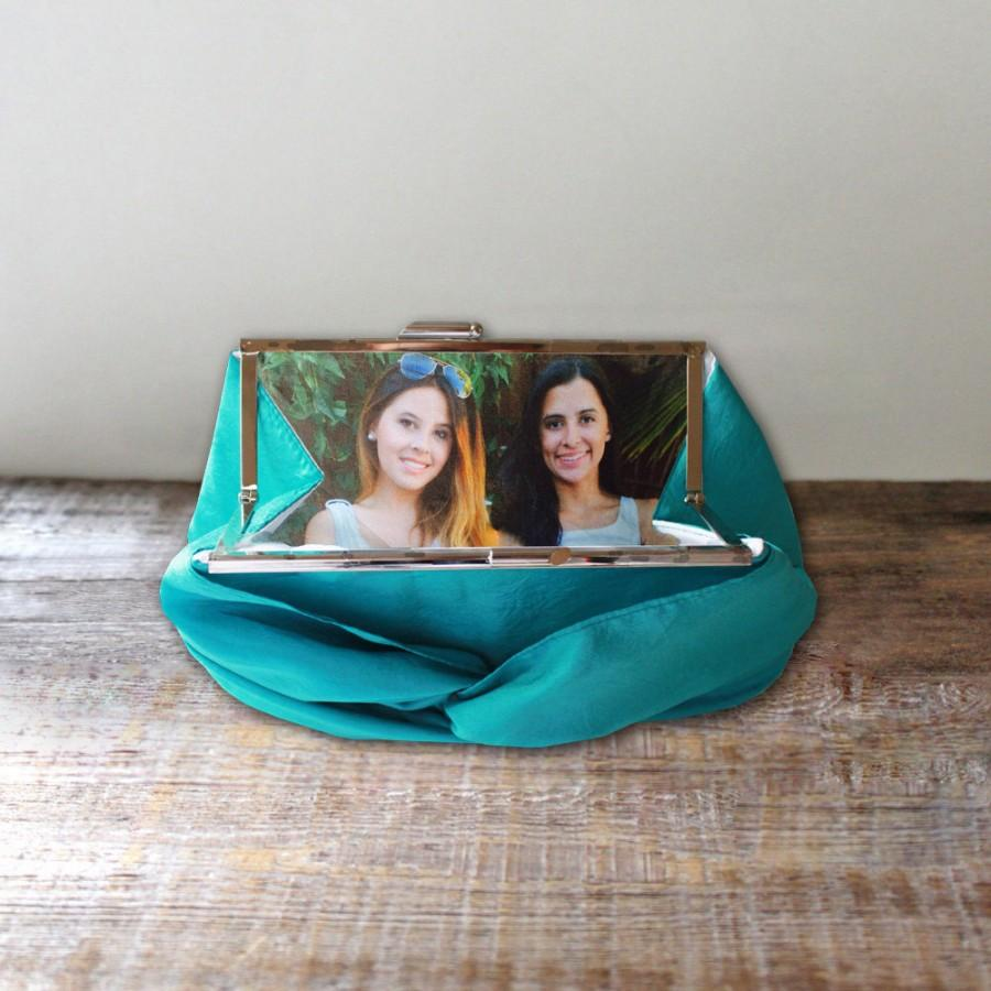Свадьба - Photo Clutch with Metal Frame- Custom Wedding Clutch for the Bride or Bridesmaid- 32 Colors Available