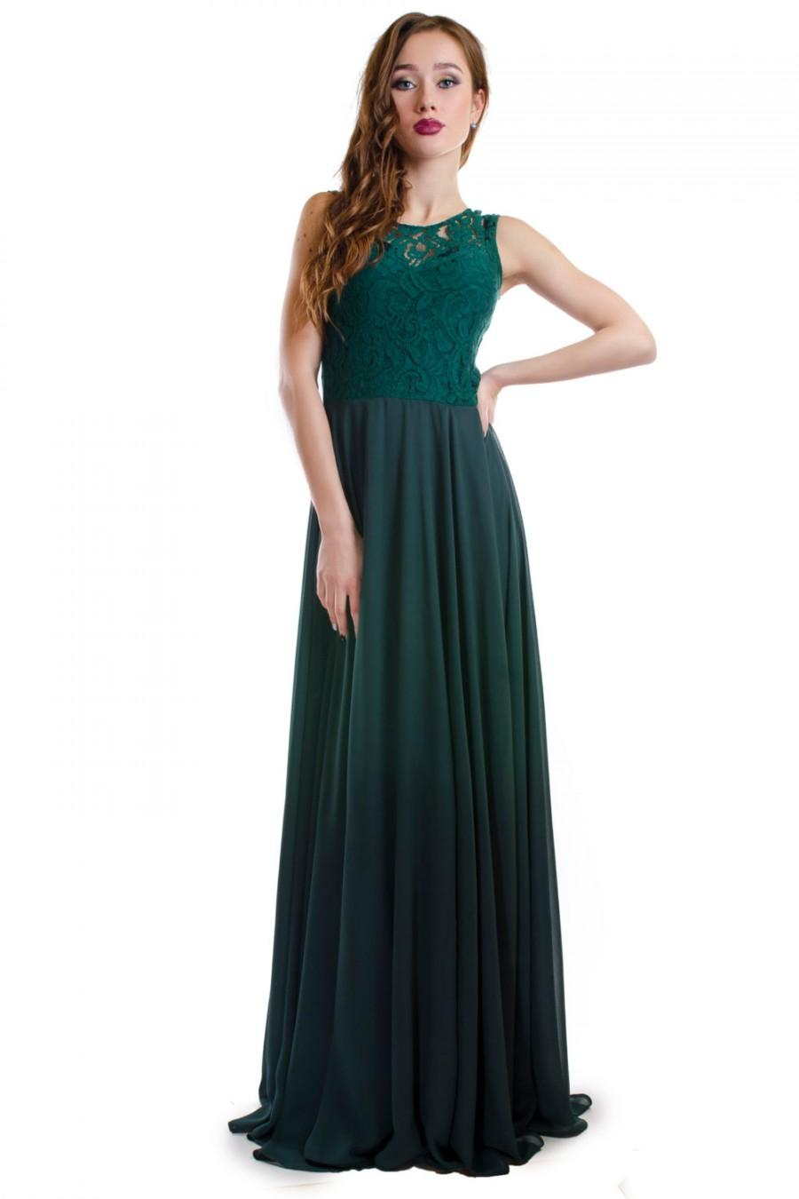 Boda - Long Sexy Prom Dark Dress Green Bridesmaids,Green Lace Chiffon Dress,cheap bridesmaid dress, Homecoming dress, custom size