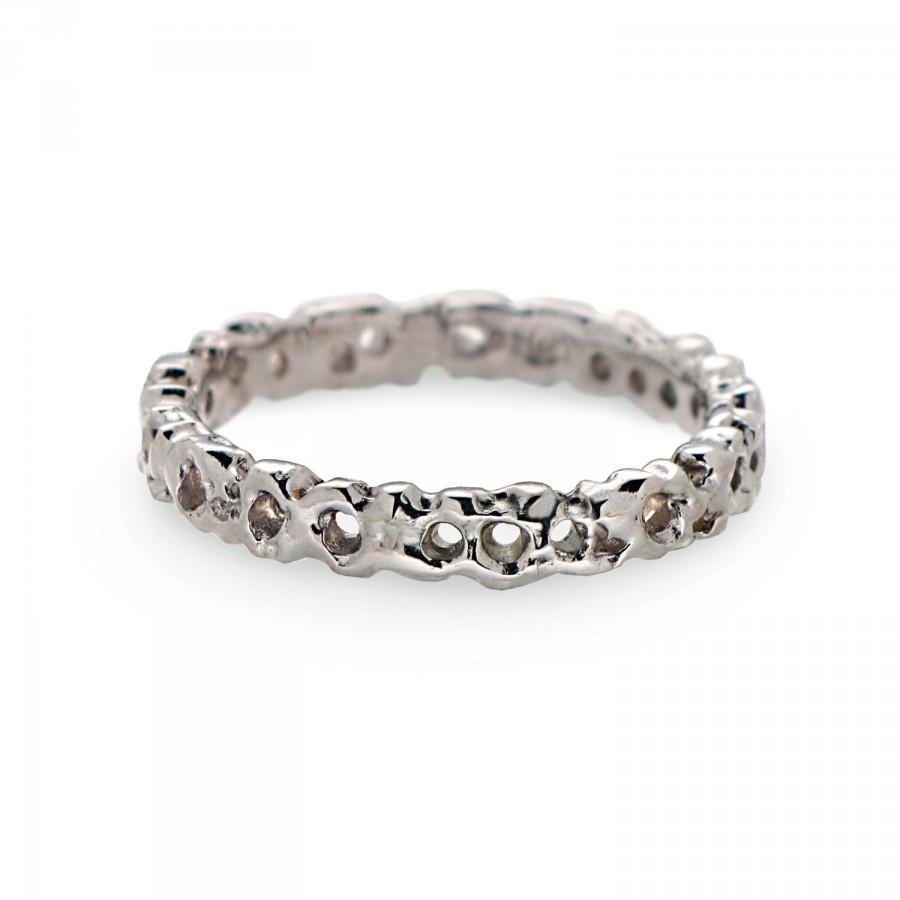 CORAL Sterling Silver Wedding Band Ring Mens Wedding Band Thin