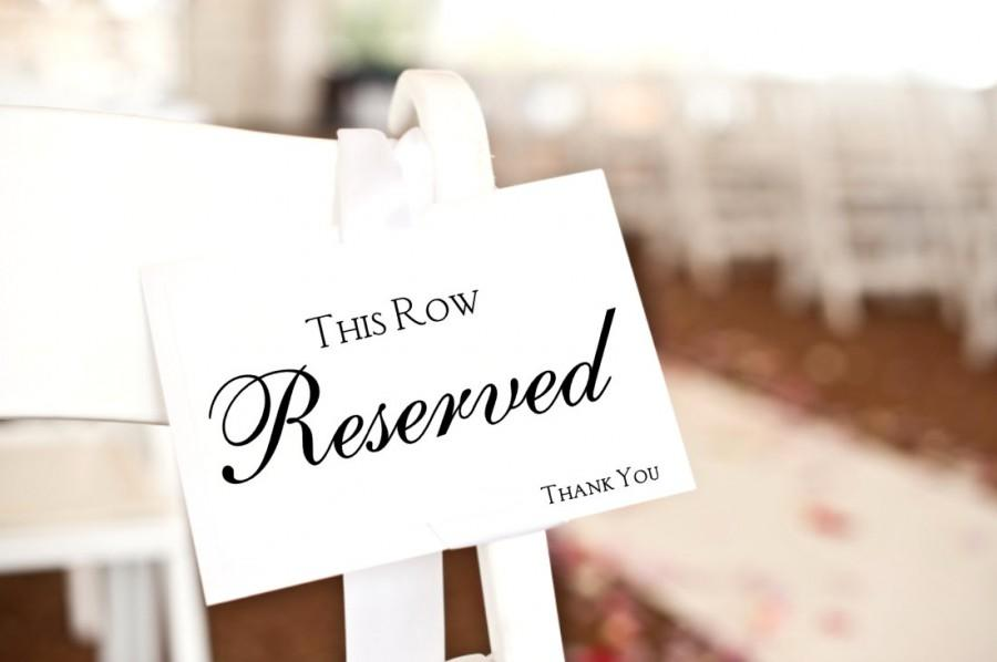 Mariage - Reserved Sign, this row reserved card, wedding ceremony decor, reserved seating wedding signage
