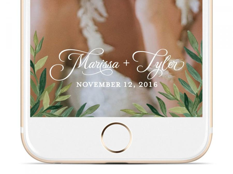 Mariage - Leaves Watercolor Wedding Snapchat Geofilter