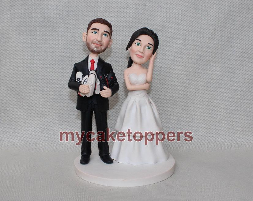 Mariage - Custom wedding Cake Toppers/  Figurine/ personalized/ birthday cake toppers/ customzied cake topper  from your photo