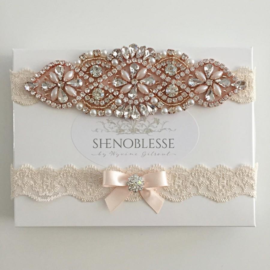 Wedding - JUDY ~ Wedding garter rose gold, champagne garter, lace garter, bridal garter, rose gold garter, blush garter, ivory garter, white garter