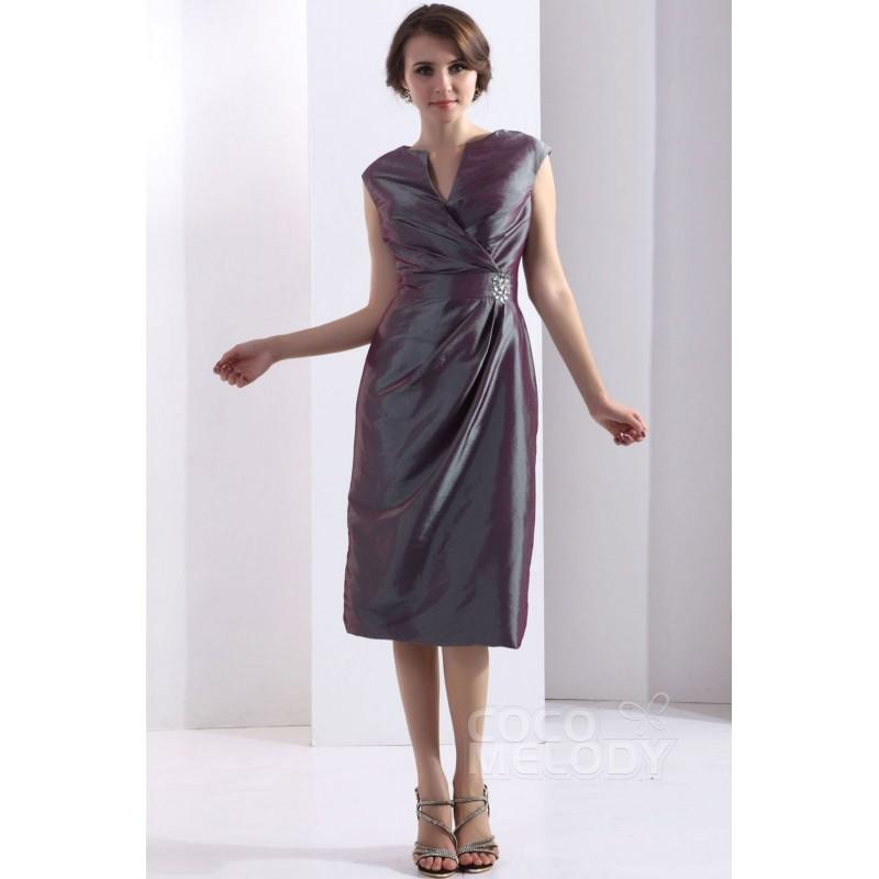 Düğün - Modern Sheath Column Knee Length Taffeta Flint Gray Mother Of The Bride Dress COZK13017 - Top Designer Wedding Online-Shop