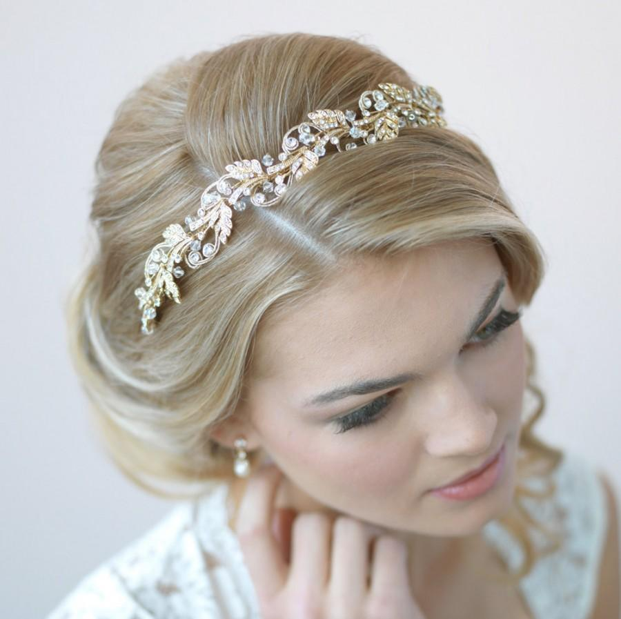 Hochzeit - Gold Bridal Headband, Floral Wedding Headband, Gold Wedding Headpiece, Gold Leaf Headband, Bride Headband, Headband for Wedding ~TI-3255-G