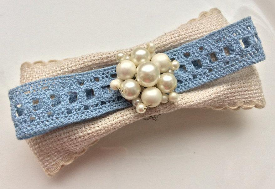 Wedding - SOLD Cream Blue Barrette Eco Hair Clip Pearl Hair Accessory Vintage Retro Wedding Something Blue Hair Jewelry Bride Hair Comb Pin Linen Clip