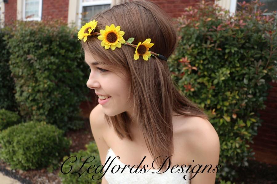 Sunflower Flower Crown! Sunflower Headband 20a82aa2cdb