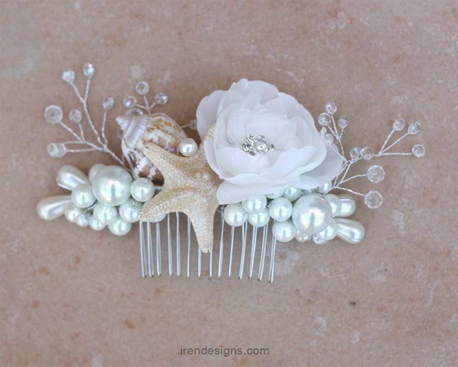 Mariage - Beach Wedding Comb. Seashell Starfish Pearls Crystals & Flower Hair Comb