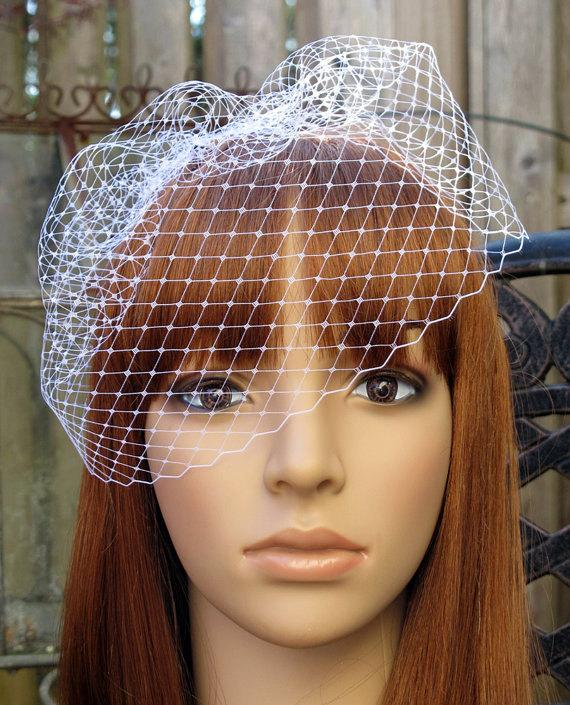 Hochzeit - White Birdcage Veil Wedding Bridal Blusher 9 inches French Diamond Net with 4 Inches Loose