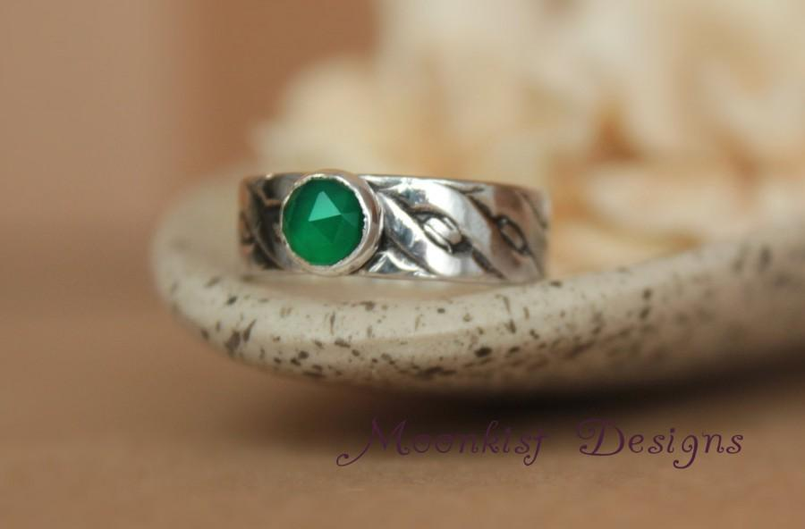 Hochzeit - Rose-Cut Green Onyx Bezel-Set Solitaire with Wide Celtic Band, Sterling Silver Celtic Twist Promise Ring, Choice of Stone