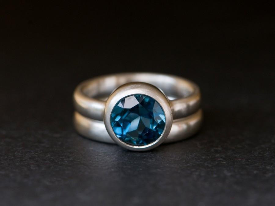 Mariage - Blue Topaz Engagement Ring - London Blue Topaz Wedding Set - Blue Gem Engagement Ring and Matching Wedding Band - US Size 6.25 Free Shipping