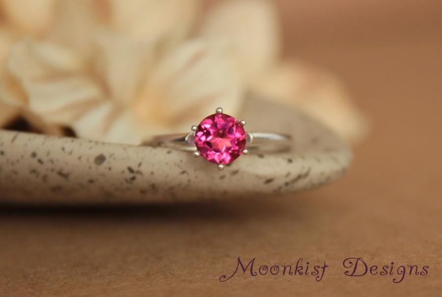 Hochzeit - Blush Pink Topaz Vintage-style Classic Solitaire in Sterling Silver - Engagement Ring, Promise Ring, Gemstone Ring