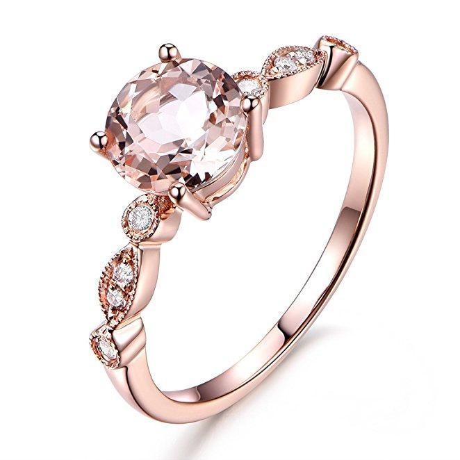 Hochzeit - Limited Time Sale Antique Design 1.25 Carat Peach Pink Morganite  (Round Shaped) and Diamond Engagement Ring in 10k Rose Gold Jewelry