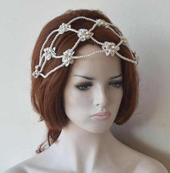 Mariage - Bridal Pearl Headband, Wedding Headpiece, Pearl Wedding, Headband, Hair Piece, Bridal Hair Jewelry