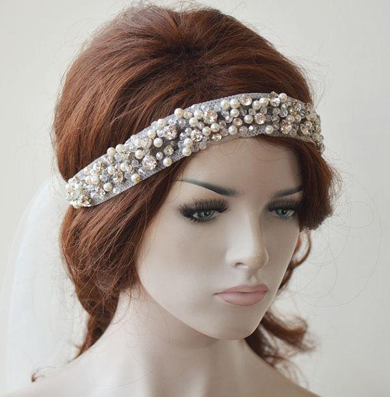Wedding - Bridal Headpiece, Wedding headband, Rhinestone Bridal Headband, Pearl Headpiece, Hair Jewelry, Bridal Hair Accessory