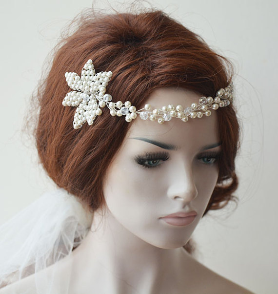 Hochzeit - Wedding Headband, Pearl Headbands, Bridal Headpieces, Bridal Accessories, Wedding hair Accessory, With comb