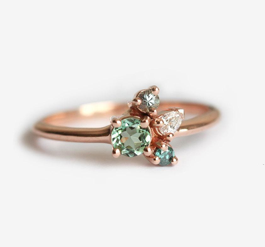 Hochzeit - Tiny Cluster Ring, Small Cluster Ring, Tourmaline Ring, Tourmaline Diamond Ring, Mini Cluster Ring, Mini Birthstone Ring