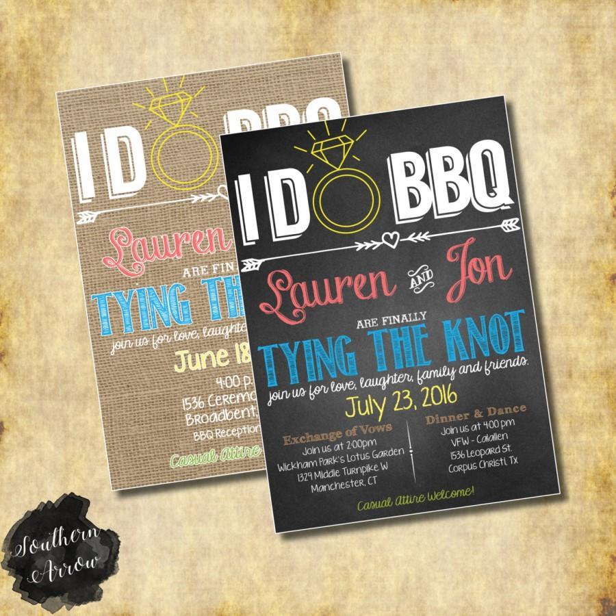 Wedding - I Do BBQ Wedding Invitation Chalkboard or Burlap - Print at Home JPEG/PDF File