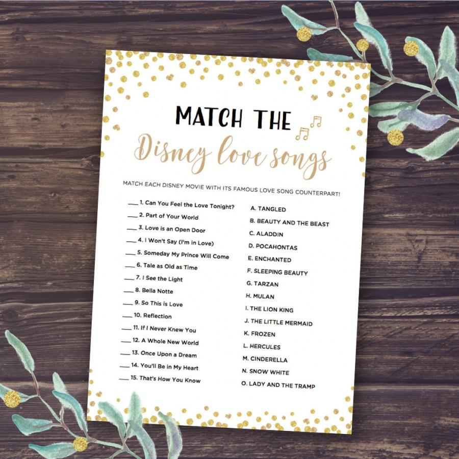 Wedding - Disney Bridal Shower Games, Match the Disney Love Songs Game, Instant Download, Wedding Shower, Romantic Quotes, Bachelorette Party, Gold