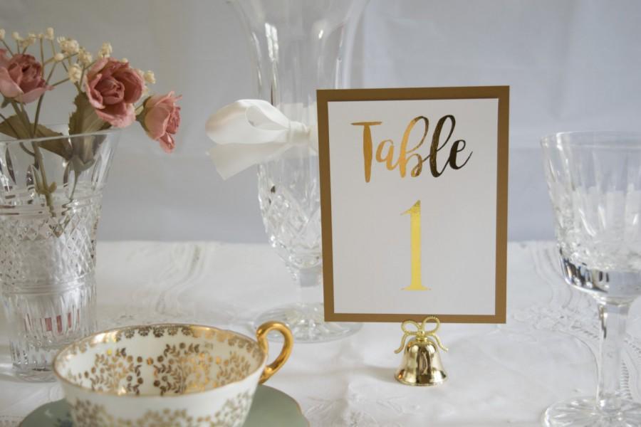 Wedding - Gold Foil Table Numbers Handmade Wedding