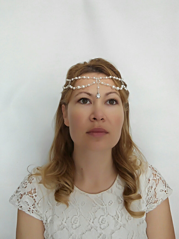 Свадьба - 1920s Headpiece, 1920s Head Chain, Pearl Hair Chain, Bridal Forehead Band, Hair Jewelry, Forehead Jewelry Hair Chain, Pearl Headpiece