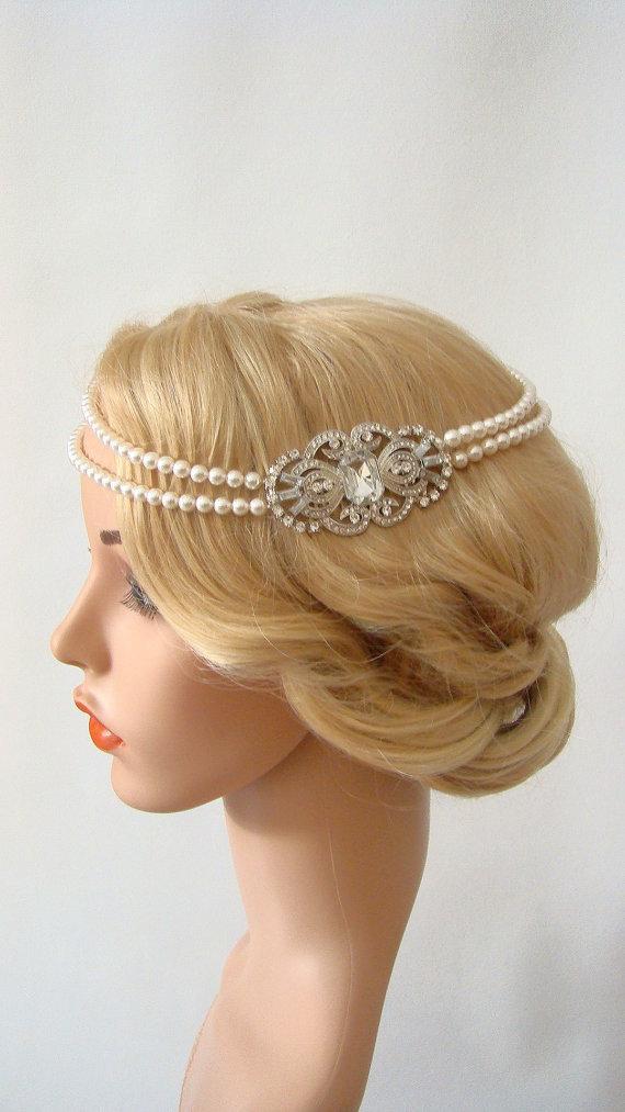 زفاف - Bridal Pearl Headband, Crystal Headpiece Vintage, Crystal Bridal Headband, 1920s Headpiece, Pearl Hair Chain, 1920s Headband, Flapper