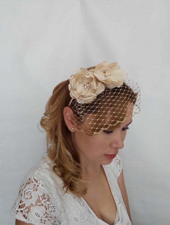 Hochzeit - Gold Birdcage Veil, Gold Bridal Headpiece, Gold Veil, Veil with Flower Headband, Birdcage Headband Veil, Birdcage Veil headband