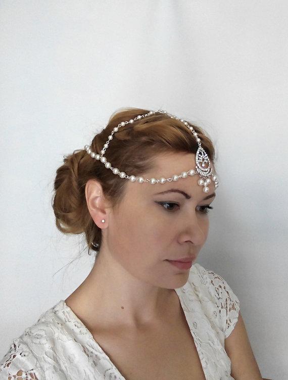 زفاف - 1920s Bridal Hair Chain, Bridal Headpiece, Wedding Headband 1920s Bohemian Bridal Forehead Band, Pearl Head Chain Hair Jewelry