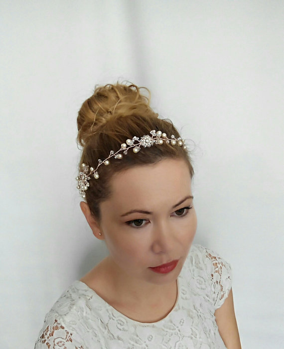 Boda - Rose Gold Hair Accessories, Bridal Hair Accessories, Rose Gold Bridal Hair Vine, Rose Gold Headband Wreath, Rose Gold Headpiece, Gold Tiara