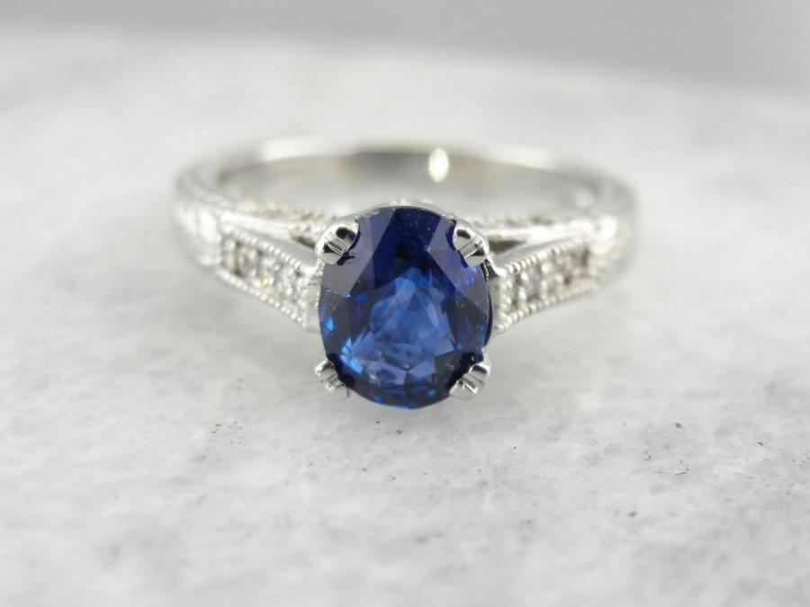 Свадьба - Gorgeous Ceylon Sapphire And White Gold Engagement Ring YC15VM-P