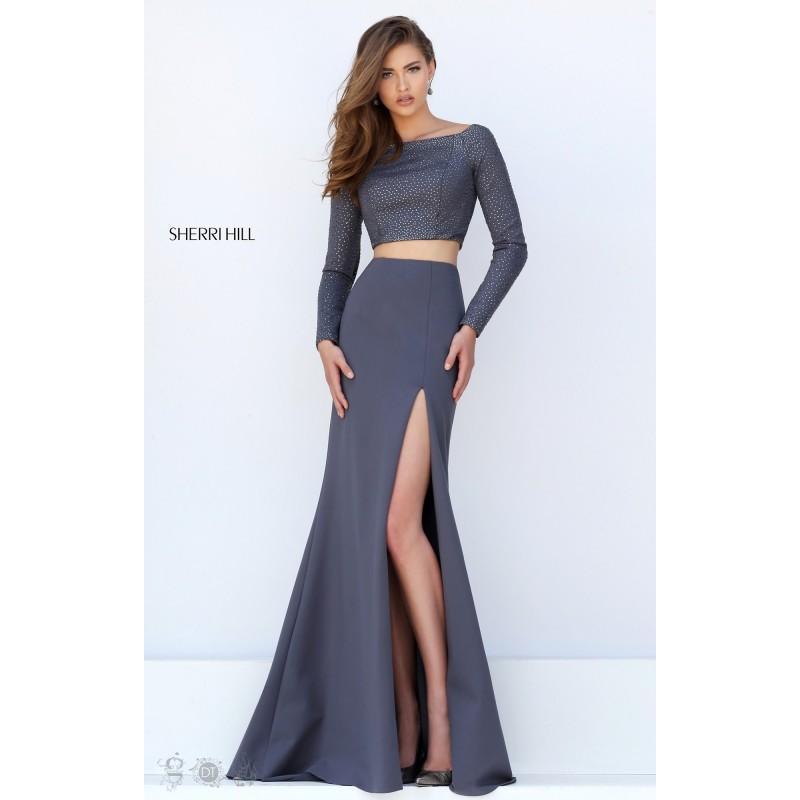 Wedding - Black Sherri Hill 50209 - 2-piece Sleeves High Slit Dress - Customize Your Prom Dress