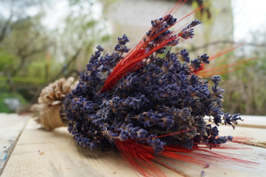 Wedding - Lavender wildflowers wedding bouquet wedding  dried flowers dried lavender ears of cereal sola flowers purple wedding lavender bouquet