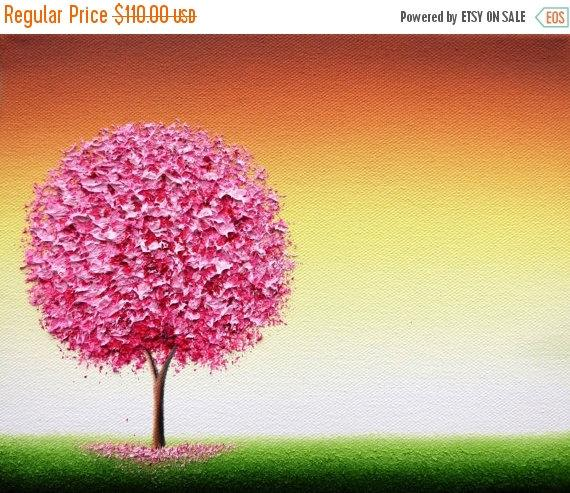 Wedding - Cherry Blossom Tree Painting, ORIGINAL Oil Painting, Textured Spring Pink Tree Wall Art, Contemporary Art Landscape, Impasto Painting, 8x10