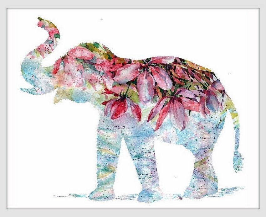 Elephant Art Print Decor Wall