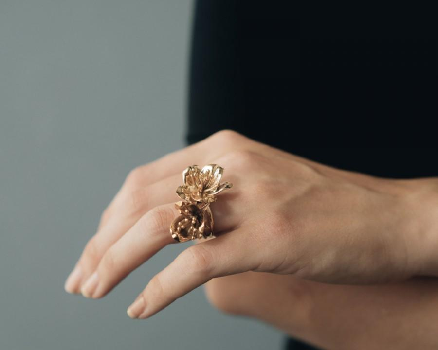 Düğün - Cherry Blossom Ring- Floral Jewelry in Brass, Bronze, or Silver