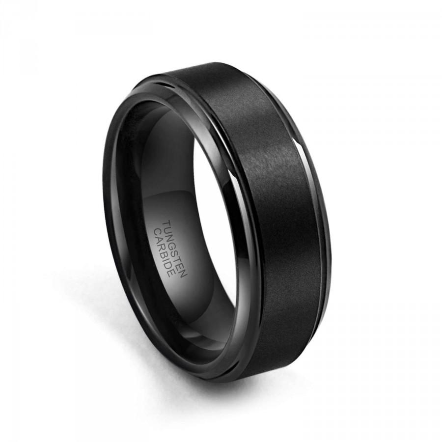 Wedding - Free custom Engraving,Black Tungsten Ring High Polish Matte Finish Men's Tungsten Ring Wedding Band, 8MM/6MM