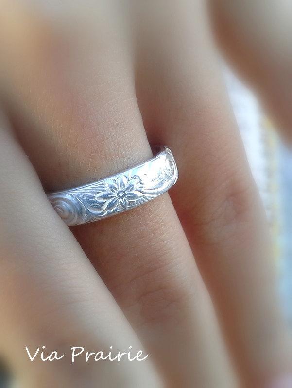 Hawaiian Ring Hawaiian Jewelry Wedding Band Hawaiian Flower Ring