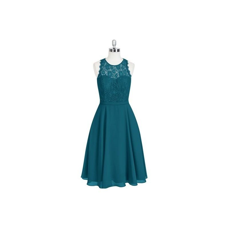Boda - Ink_blue Azazie Sylvia - Knee Length Back Zip Scoop Chiffon And Lace Dress - The Various Bridesmaids Store