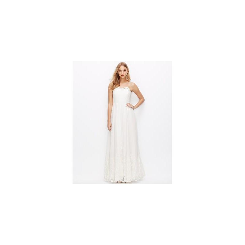 Wedding - Ann Taylor Lace Georgette Spaghetti Strap Gown -  Designer Wedding Dresses