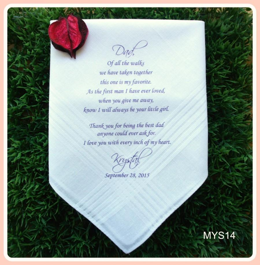 Свадьба - Father of the Bride Hankerchief-Wedding Handkerchief-PRINTED-CUSTOMIZED-Wedding Favors-Father in Law-Wedding Gift-Father of the Bride Gift