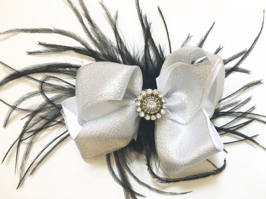 Hochzeit - Silver ad Black Feather Hair Bow Fascinator, Silver and Grey Feather Hair Bow Fascinator, Bridal Hair Fascinator, Dance Costume Feather Bow