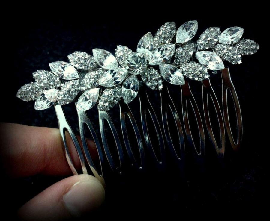 Hochzeit - Leaves Bridal Hair Comb, Leaf Wedding Headpiece, Bridal Hair Jewelry, Swarovski Wedding Hair Comb, Crystal Bridal Headpiece, FOLIAGE