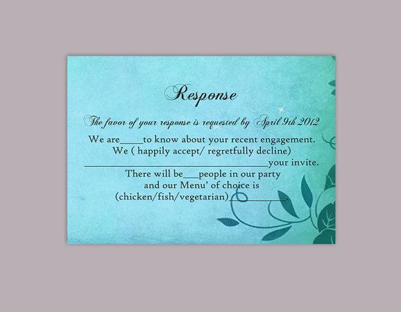 Свадьба - DIY Rustic Wedding RSVP Template Editable Word File Instant Download Rsvp Template Printable Blue RSVP Cards Turquoise Rsvp Card Leaf Rsvp